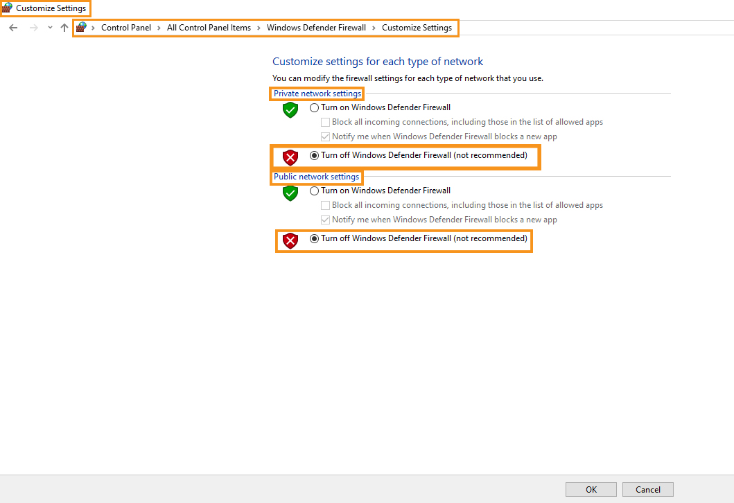 Disable the Windows Defender Firewall (1)