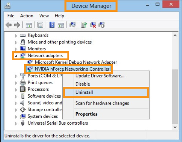 Reinstall the Network Adapter Driver